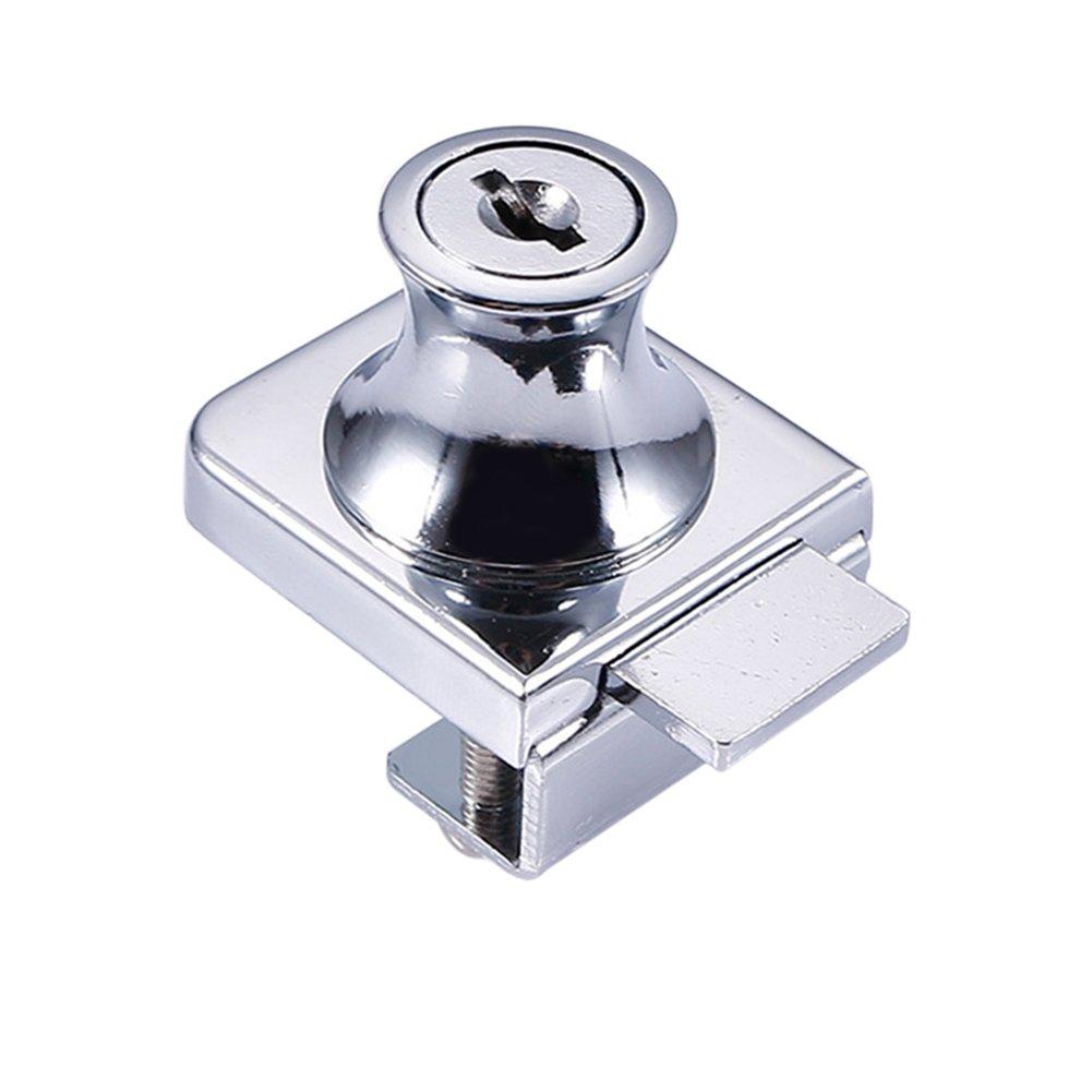 Alftek in Lega di Zinco Blocco di Vetro vetrina Porta in Vetro Serrature 5 –  8 mm No Drill 2 Chiavi