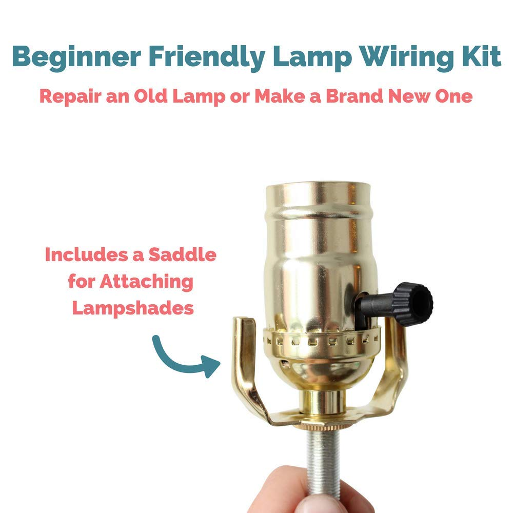 Lamp Base Socket Kit Electrical Wiring Set To Make Repair And Diy How Rewire An Old Repurpose Lamps A Vintage Or Create Custom Light From Scratch Glossy