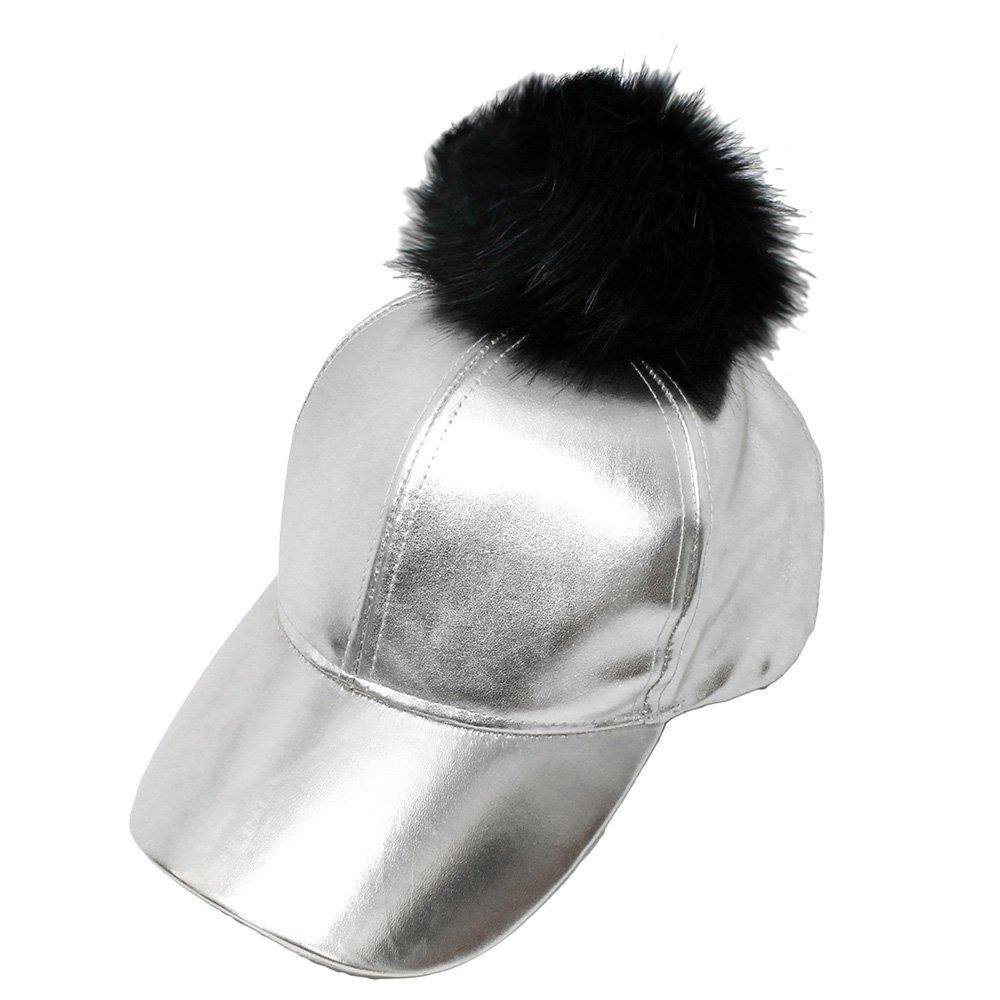 NYFASHION101 Fur Pom Pom Adjustable Snapback Faux Leather Precurved Baseball Cap