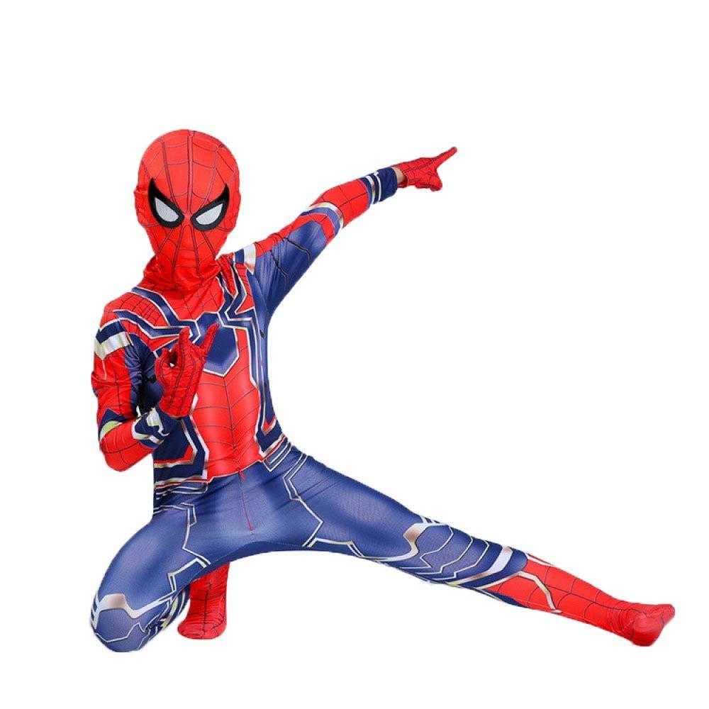 rouge 120CM WEGCJU Costume De Fer Spiderhomme Cosplay Collants Siamois Enfant Adulte Fête à Thème HalFaibleeen VêteHommests,rouge-170CM