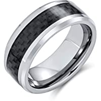 Geometric Pattern Blue Black Grey Cobalt Carbon Fiber Inlay Couples Silver-Tone Titanium Wedding Band Rings for Men 8MM