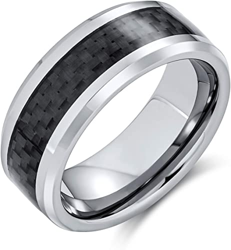 Men/'s Titanium Polished With Grey Carbon Fiber Inlay 8mm Band