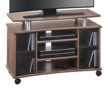 Tv rack holz  MAJA Möbel 7362 4876 TV-Rack, Holz, eiche dunkel / alu optik ...