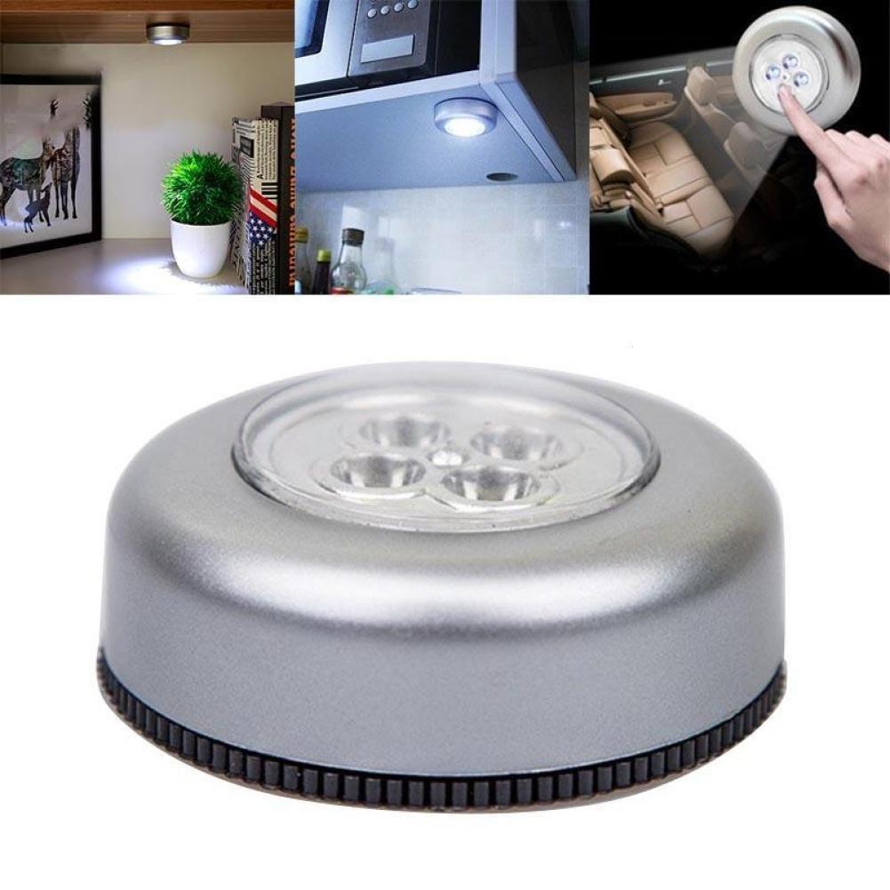 gordesc 1pc 3 4 LED luz inalá mbrico de coche Home armario de cocina grifo lá mpara toque stick autoadhesivo, Plateado, 3LED