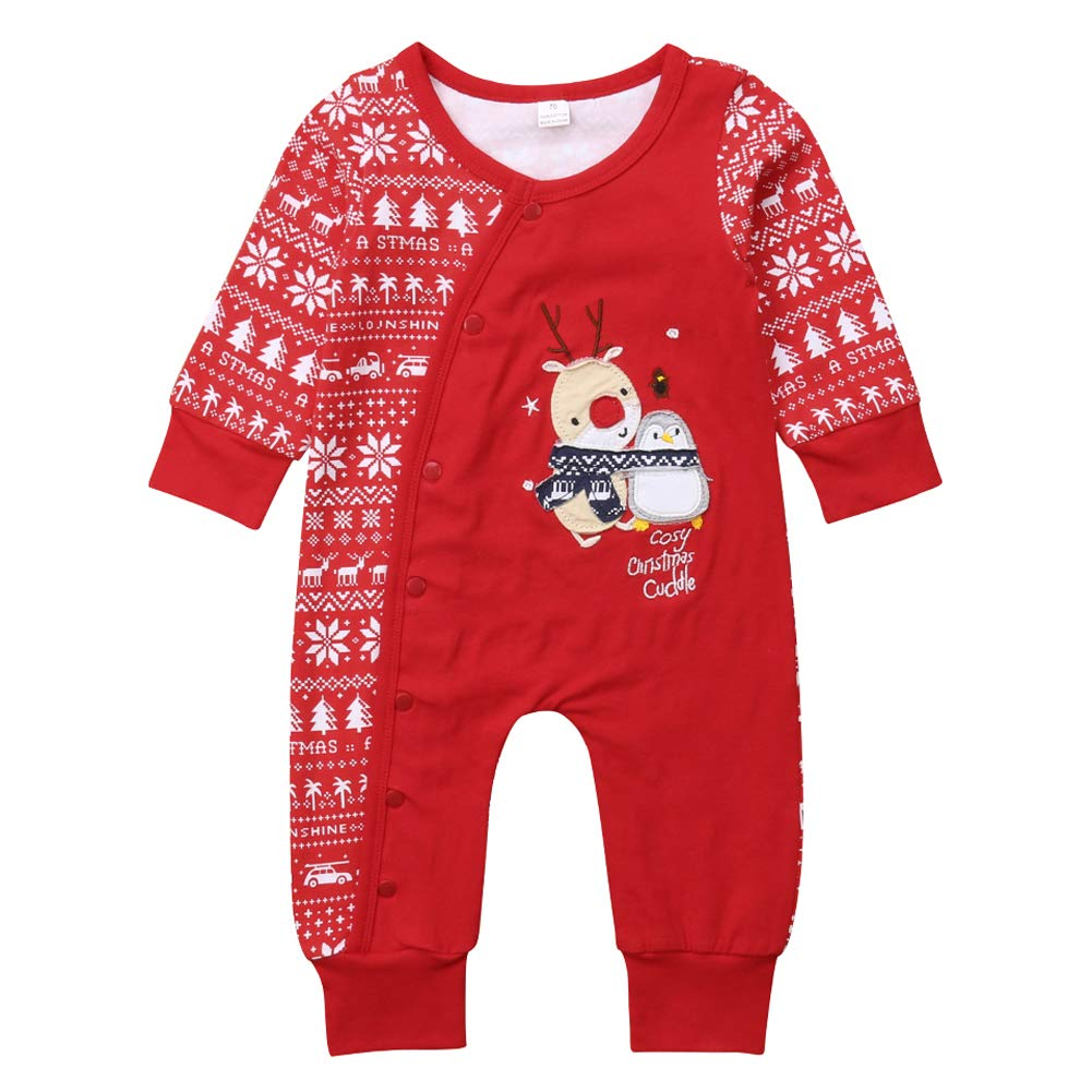 2861dac785bcd Amazon.com: Pudcoco Baby Boys Girls Long Sleeve Christmas Romper ...