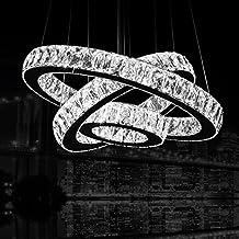 "Dearlan Modern Big Crystal 3 Ring Chandeliers D27.6""+19.7""+11.8"" Ceiling Lighting Fixture Chandelier Lighting for Living Room Hotel Hallway Foyer Entry Bed Room"