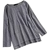 Women Ladies Long Sleeve Plaid Blouses For Women Plus Size Loose Blouse Pullover Forking Tops Shirts