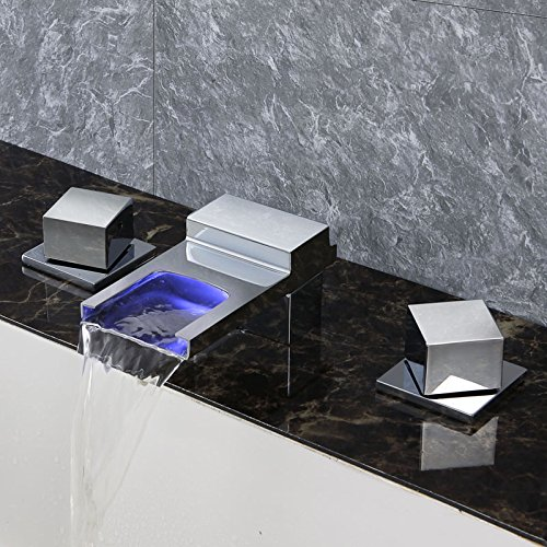 Dr Faucet Elegance Deck Mounted waterfall bathtub LED Faucet Light Temperature Control Hot & Cold Water Faucet Dr-4407 ()