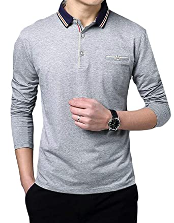 4294dc99edec XTX Men's Casual Business Comfy Long Sleeve Solid Color Golf Polo Shirt Tee  Top Grey XS