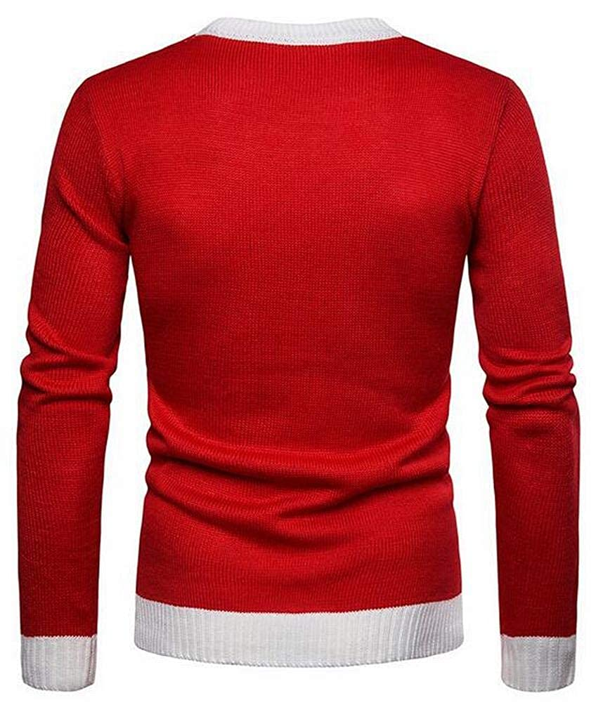 Jotebriyo Men Knit Christmas Crew Neck Casual Pullover Sweater Jumper Top