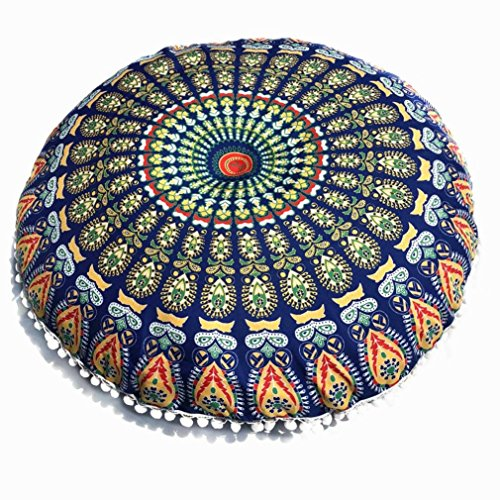 Clearance Sale,KIKOY Large Mandala Floor Pillows Round Bohemian Meditation Cushion Cover Ottoman Pouf (Multicolor -