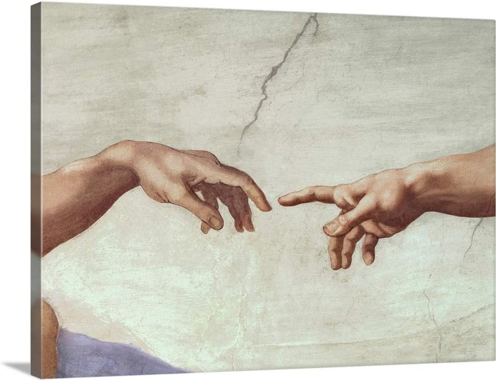 Hands of God and Adam, Detail from The Canvas Wall Art Print, Artwork