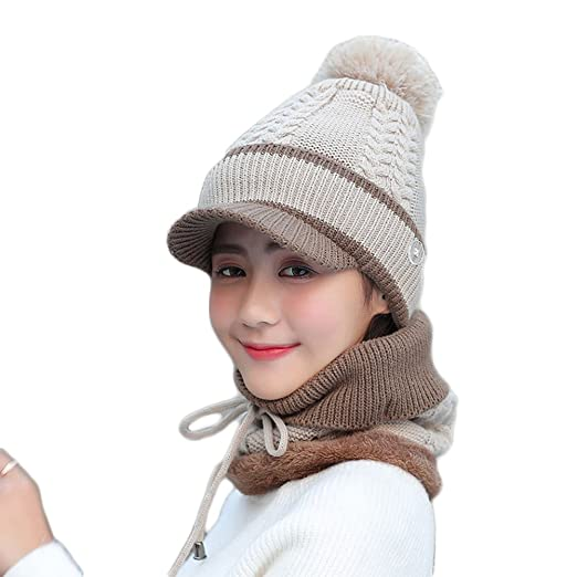 a5918fd4be8 Image Unavailable. Image not available for. Color  AkoMatial Woolen Yard 2  in 1 Winter Beanie Cap Scarf Outdoor Warm Hat for Women