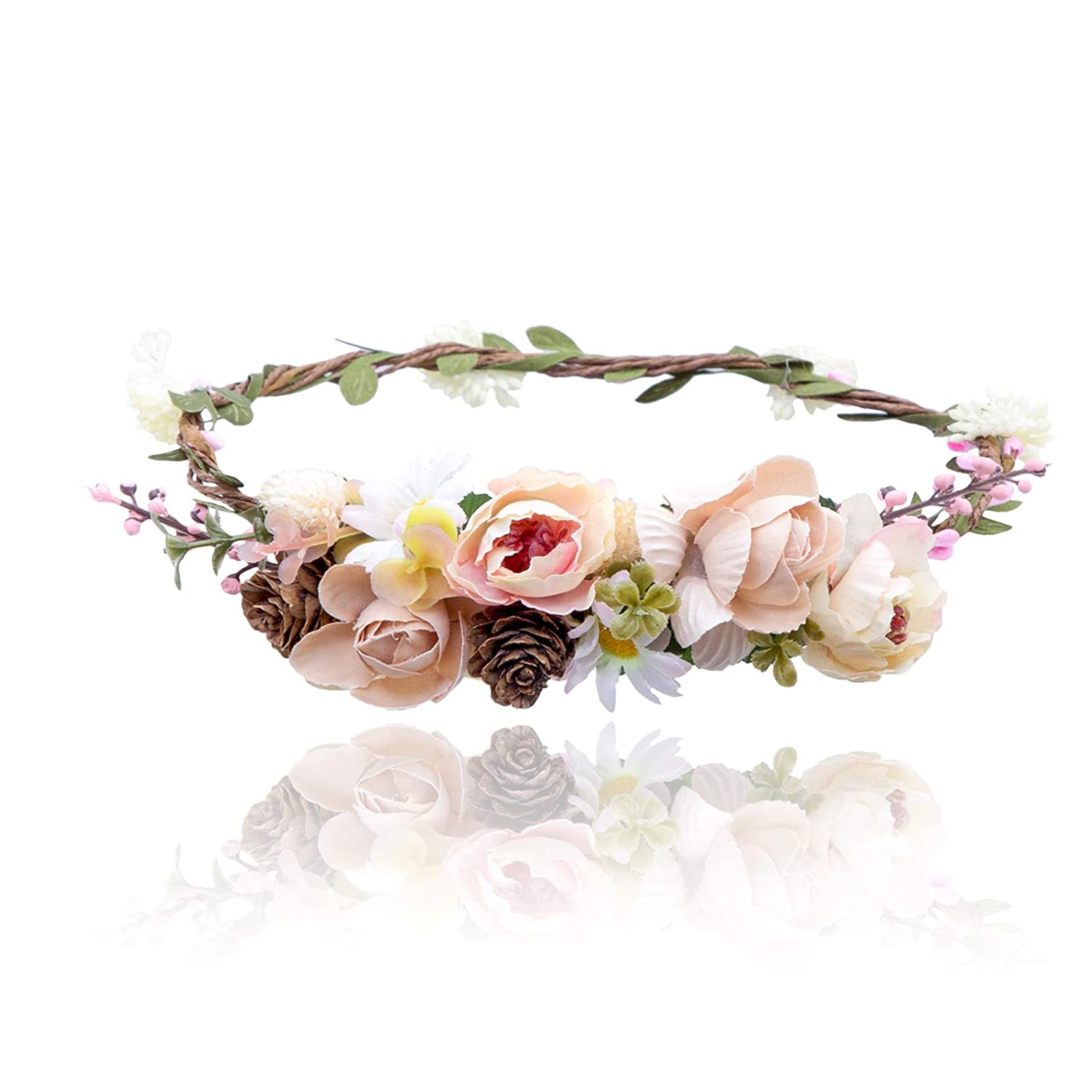 Handmade Floral Headdress Small Lilac Purple Roses With Leaves