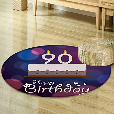 Non Slip Round Rugs 90th Birthday Decorations Dreamy Layout With Color Spots Artistic Graphic Cake Design