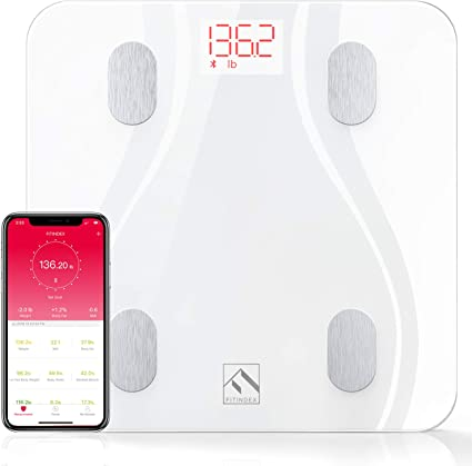 Bluetooth High Precision Weight Scale Digital Electronic Health Scale with Display Without Battery White