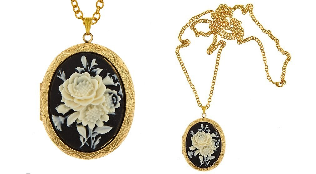 Cameo Locket Necklace Vintage Style by I.G.N.Y. Design