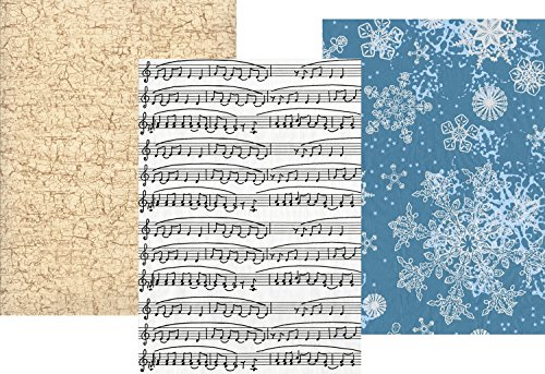 - Decopatch Complimentary Colours - Music Notes, Blue and White Snowflakes, Gold Crackle