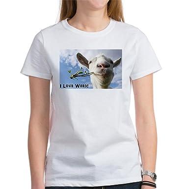 b1f83400a78c Amazon.com: CafePress - Weed Goat T-Shirt - Womens Cotton T-Shirt ...