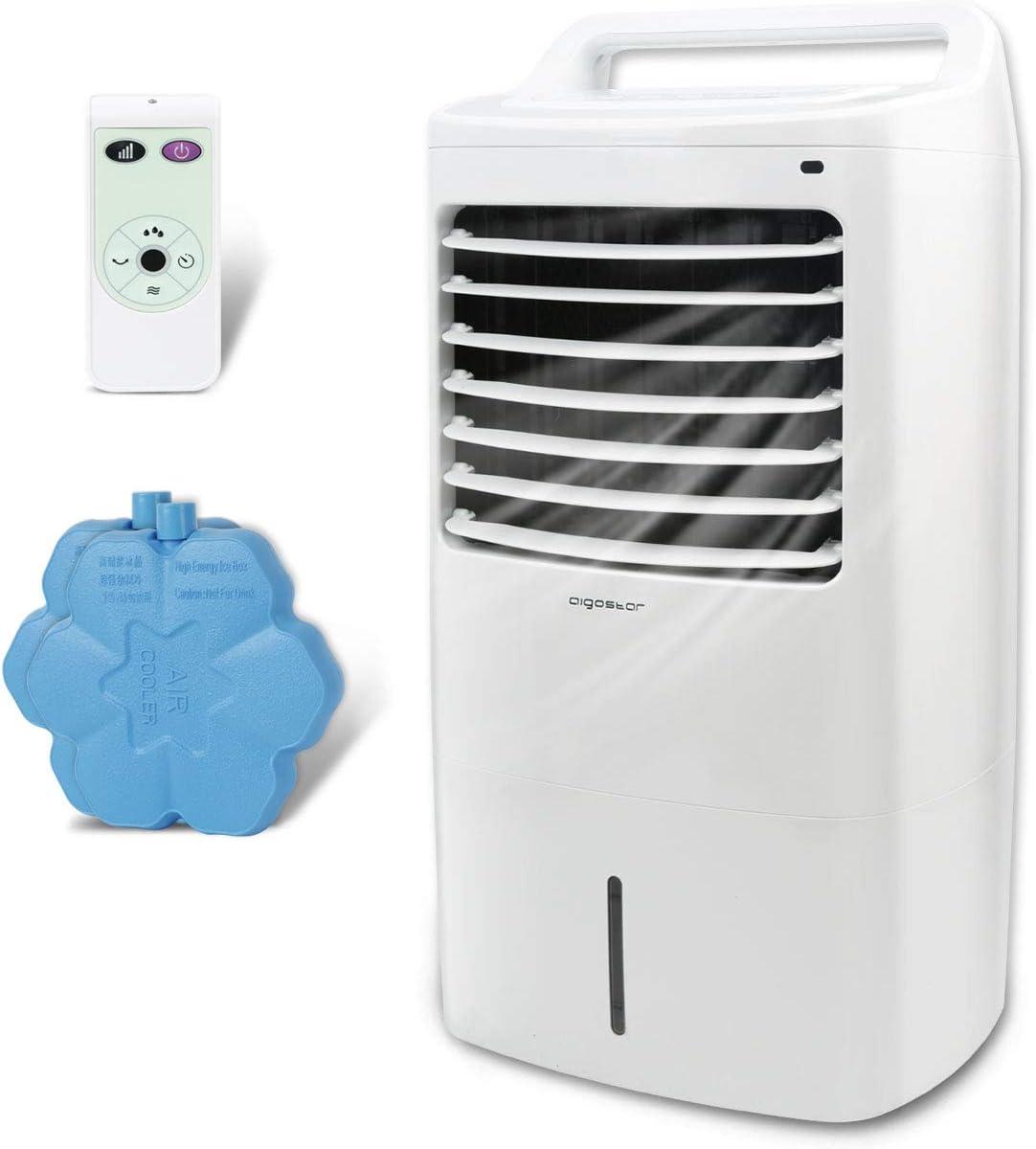 Aigostar - Climatizador evaporativo con mando a distancia, 60W, oscilante, 3 modos y 3 velocidades, temporizador, humidificador de aire, 2 cajas hielo, depósito de 15 l.