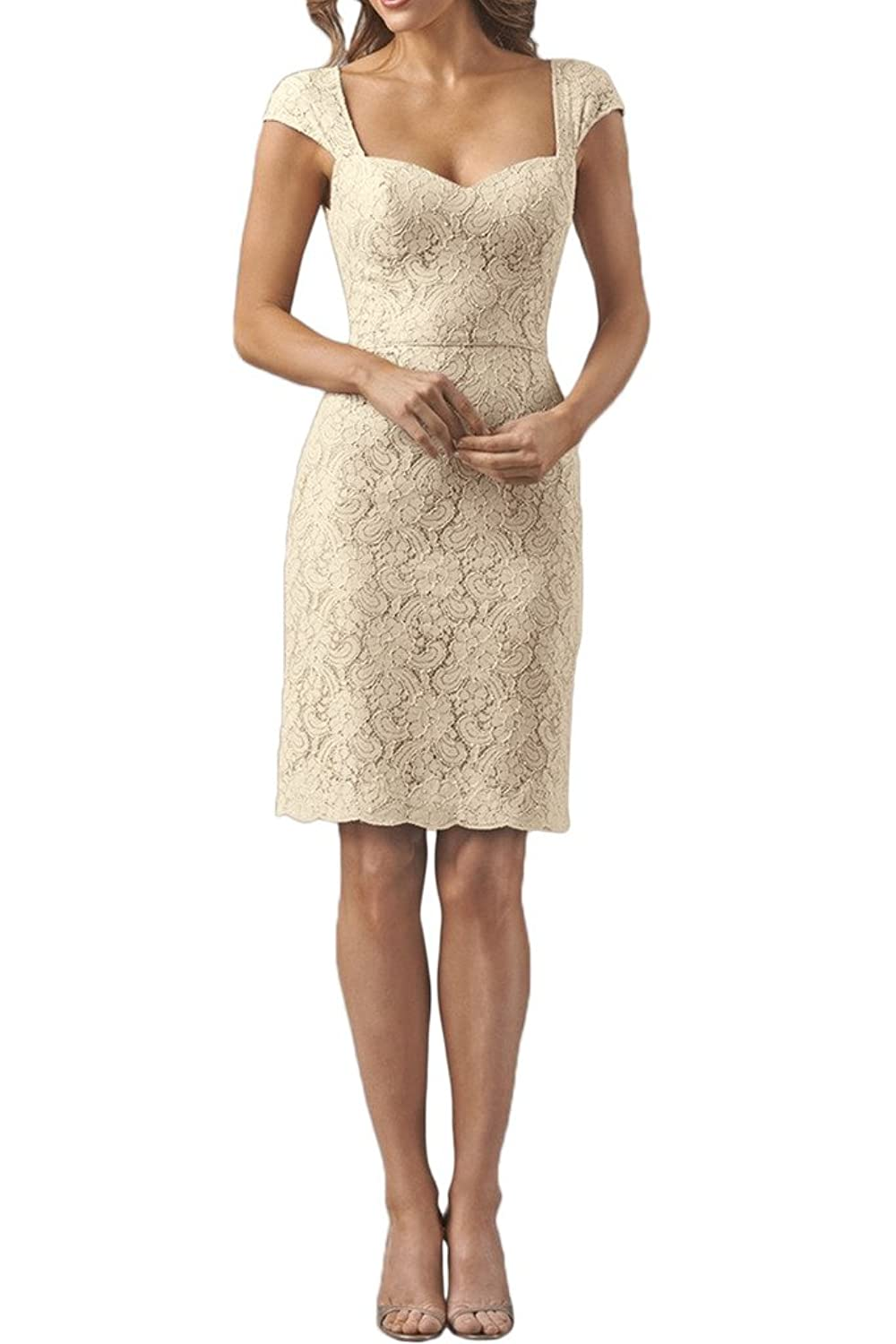 Gorgeous Bride Short Cap Sleeves Mother of the Bride Cocktail Dresses Lace