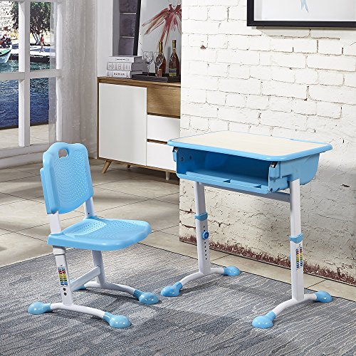 Kuyal Fashionable Children Desk and Chair Set, Height Adjustable Student Desk, School Desk Combo, Kids Computer Desk and Chair Set, Art Desk Workstation, Kids Study Table (Blue) - Grade School Computer Desk