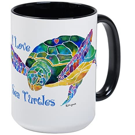 18e84334c35 Amazon.com: CafePress - Beautiful Graceful Sea Turtle Large Mug ...