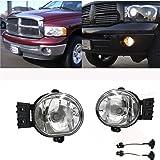 Ricoy for Dodge 2002-2008 Ram 1500 2500/2004-2006 Durango Pick Up Truck Bumper Fog Lights Clear Lens with 9006 HB4 Halogen Bulb