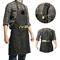 Heavy Duty Denim Jean Tool Apron with Pockets Waterproof Waxed Canvas Apron for Men and Women Adjustable Work Apron Quick Release Buckle