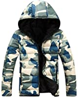 OUCHI Men's Camouflage Hooded Down Style Jackets Front-Zip Outwear Winter Coat