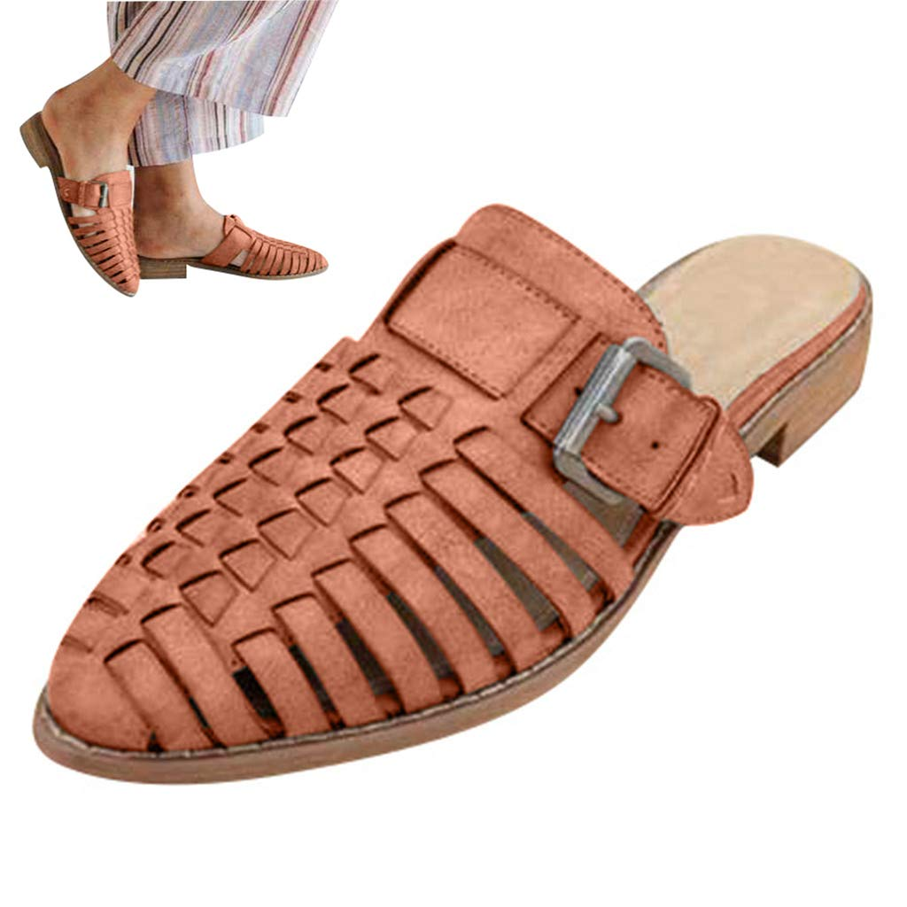Woman PU Leather Hollow Sandals Comfy Slingback Slippers Low Heel Roman Sandals Non Slip Outdoor Slippers Beach Shoes (Brown, 5 M US)