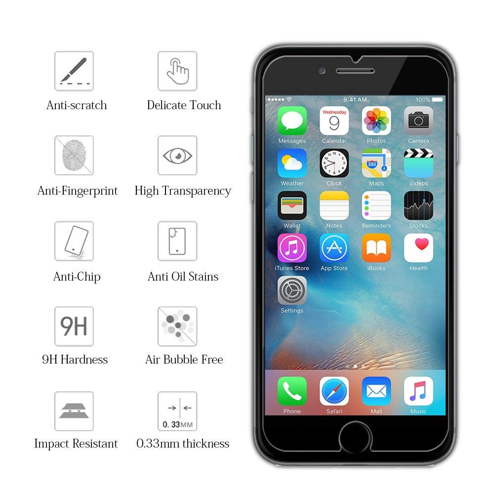 KATIN iPhone 8 7 6S 6 Screen Protector - [2-Pack] Tempered Glass for Apple iPhone 8, iPhone 7, iPhone 6S, iPhone 6 (4.7-inch) Easy to Install with Lifetime Replacement Warranty by KATIN (Image #3)
