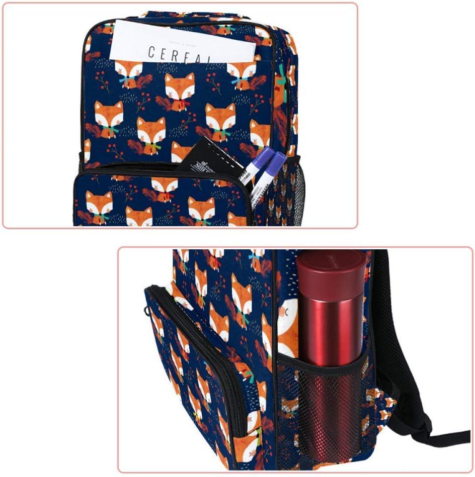 Casual School Backpack Foxes Patter Navy Blue Print Laptop Rucksack Multi-Functional Daypack Book Satchel