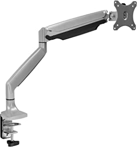 Mount-It! Single Monitor Arm Desk Mount | Gas Spring Monitor Arm | Full Motion Articulating Height Adjustable | Fits 21 22 23 24 27 30 32 Inch VESA Compatible Computer Screen | Clamp and Grommet Base