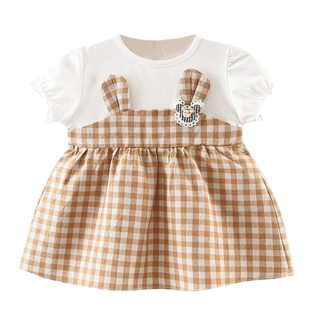 ❤️ Mealeaf ❤️ Toddler Baby Kids Girls Plaid Rabbit Ear Patchwork Skirt Princess Dresses Clothe(3M-24M)