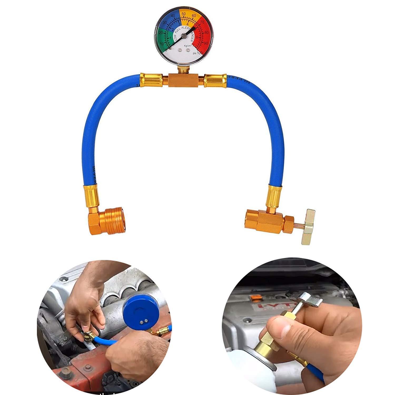 Orville Jauge de Pression de climatisation R134A pour Voiture AC Air conditionn/é Kit de Tuyau de Recharge avec jauge 1//2 kit de Mesure de Recharge pour Robinet