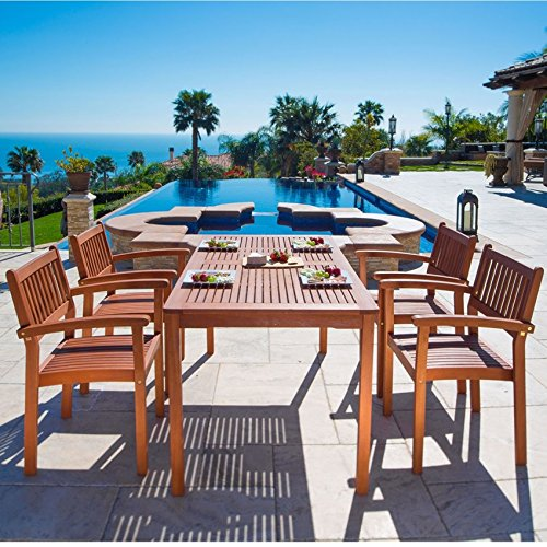 Vifah 5-Piece Balthazar Outdoor Dining Set with Stacking Chairs - Balthazar Dining Set