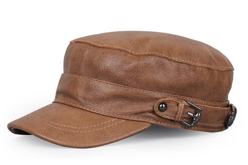 Donna hat uomini e donne autunno e inverno folle casual Cappello in cuoio maschio sottile singola sezione winter tappo piatto,XXL (60-61cm),giallo