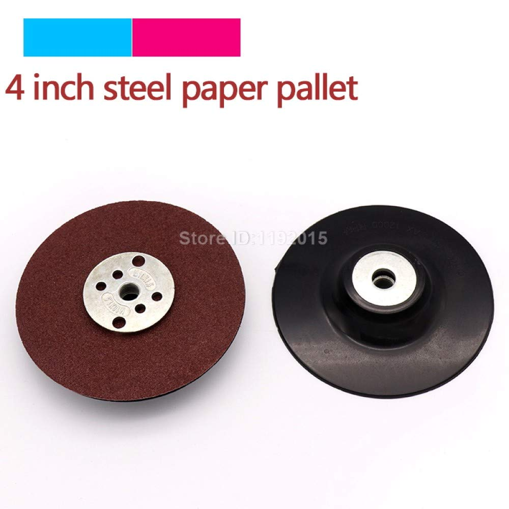 ZCZSDXB sandpaper-1Pcs 4Inch 100mm Steel Paper Sticky Grinding Tray Sanding Gasket Rubber Pad Sandpaper Sucker Discs For Woodworking Metal Disc,100mm