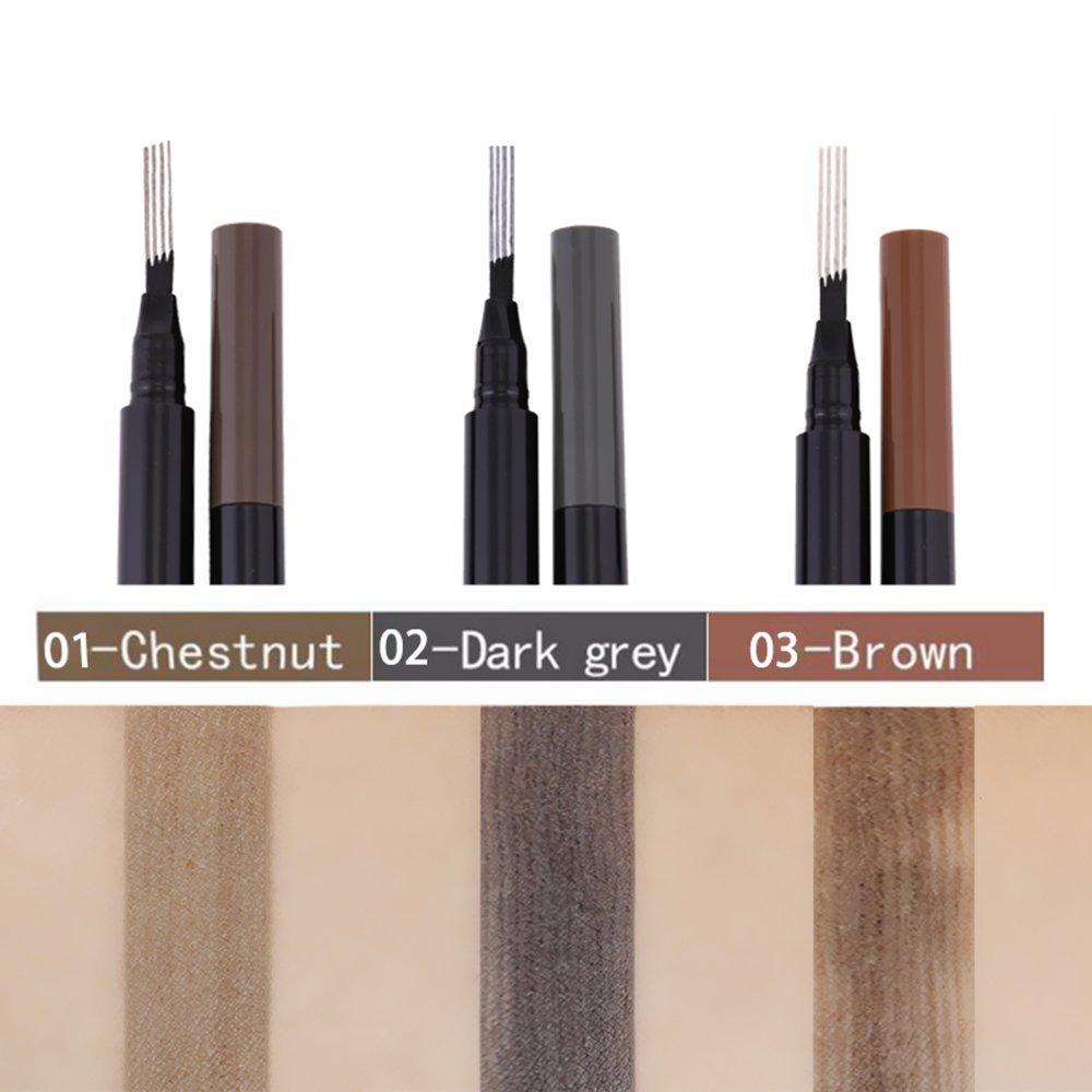 Brow Pencil Anself Eyebrow Liner Pen with 4 Tips Fork Tip Waterproof Long-lasting W6457-1-NK9WV1