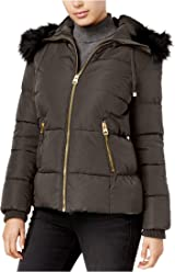 GUESS Faux-Fur-Trim Hooded Puffer Coat, Olive, X-Large
