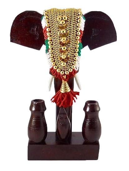 Mdt India Wooden Handicraft Decorated Elephant Head Antique Pen