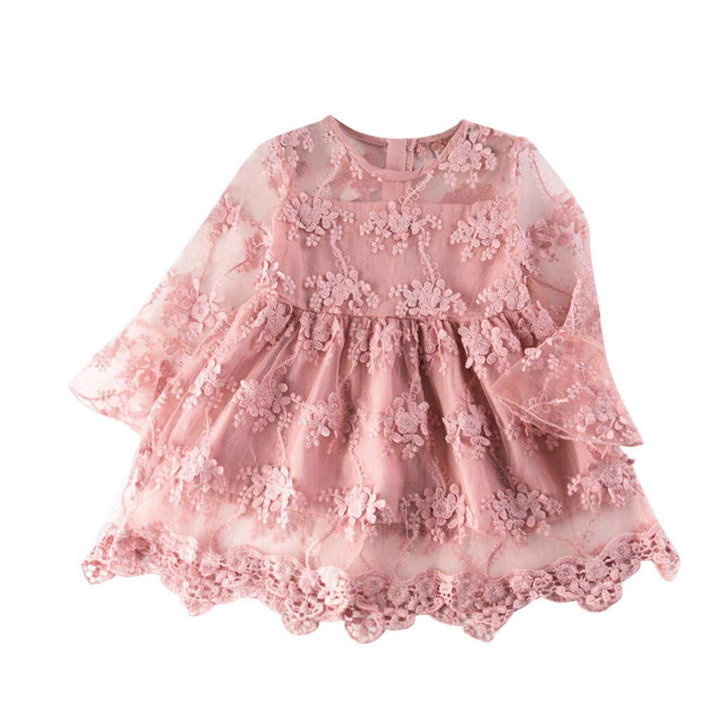 Baby Mid-Sleeve Tulle Dress, Hopwin Girls' Floral Embroidery Back Zipper Pageant Princess Mesh Dresses (Age:5-6 Years, Pink)