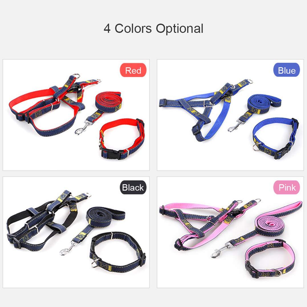 Set guinzaglio per Cani Collare guinzaglio in Denim per Gatto di Cane Cucciolo Collare Regolabile per Gilet Cane S//M//L//XL