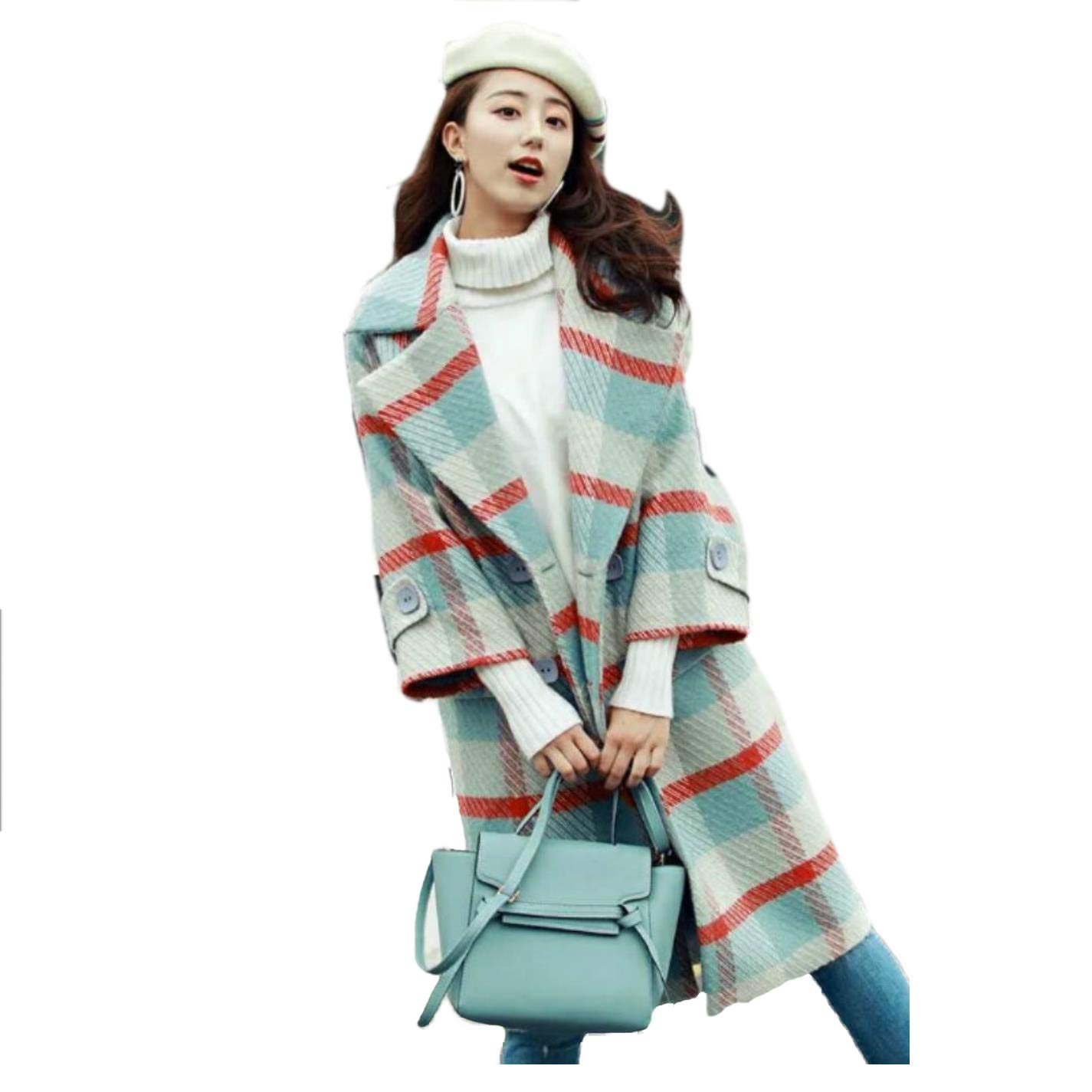RTSJHY Women's Plaid Wool Coat