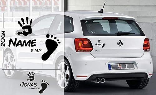 Fuß und Handabdruck Baby personalisiert mit Name und Datum   Baby - Name On Board   Wunschtext mit Datum   Auto Aufkleber   A