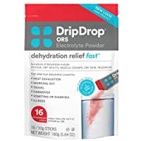 DripDrop ORS - Patented Electrolyte Powder For Dehydration Relief Fast - For Workout, Sweating, Illness, & Travel Recovery - Watermelon - 16 x 8oz Servings