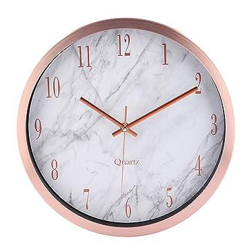 Wanduhr Lautlos, Foxom 12 Zoll Modern Lautlose Wanduhren Uhr Wall Clock  Wanduhr ohne Tickgeräusche mit Marmor Textur (Rose Gold)