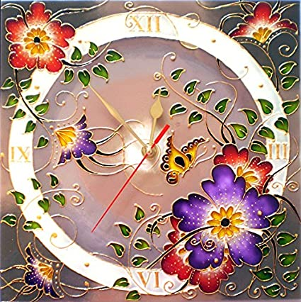 Handmade Wall Clock 12 Hours Quartz Stained Glass Paint Flower