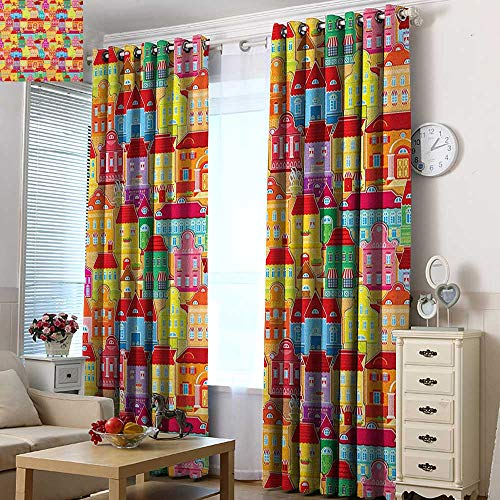 Acelik Thermal Insulating Blackout Curtains Cityscape Cartoons European Architecture Art Houses with Pillars Fountains Cute Urban View Energy Efficient, Room Darkening 84